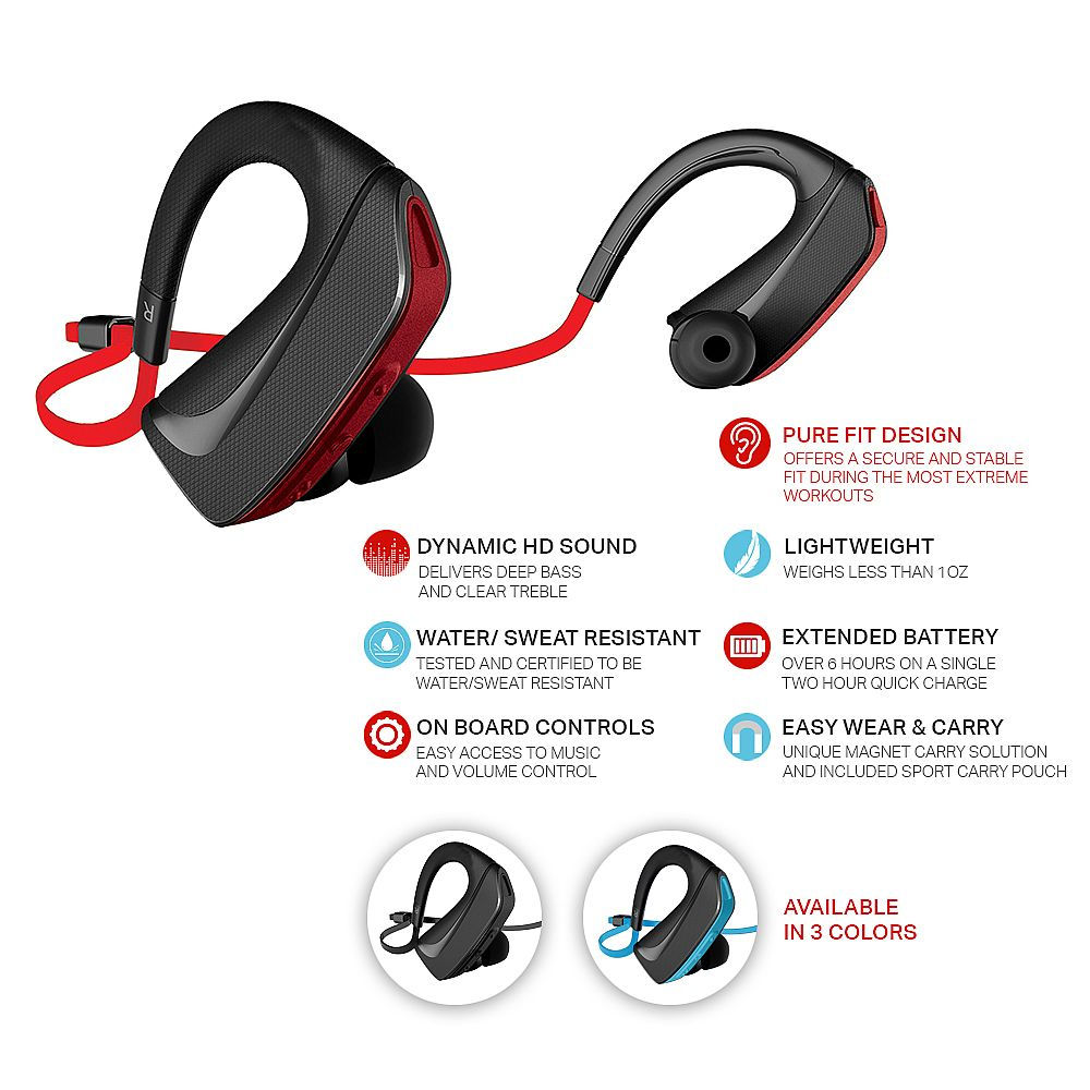 jarv pure fit bluetooth 4 0 wireless sport headphones ear buds sweat and water resistant ear. Black Bedroom Furniture Sets. Home Design Ideas